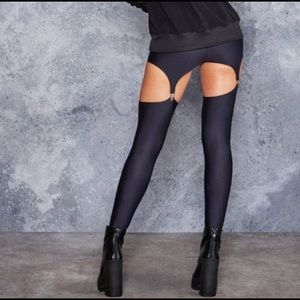 Blackmilk Original Black Matte Suspender Leggings
